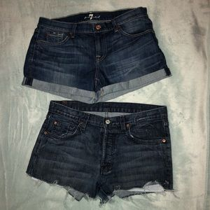 Two pairs of 7 jean shorts, fit like size 28